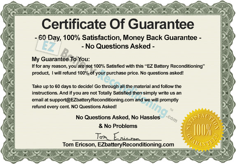 EZ Battery Reconditioning Guarantee